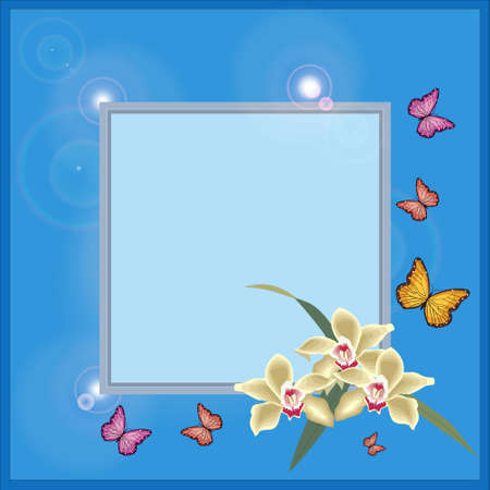 Blue spring frame with flowers and butterflies