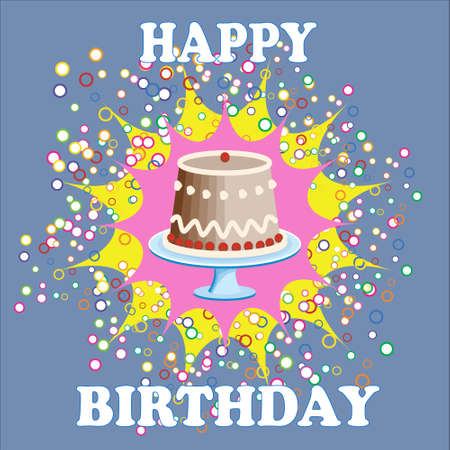Birthday card with cake on blue background Stock Vector - 17883247