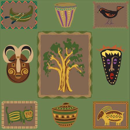 wooden mask: Vector illustration of African design elements