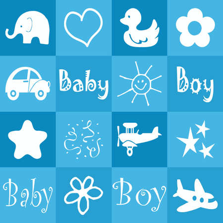 toy elephant: Baby boy announcement card Stock Photo