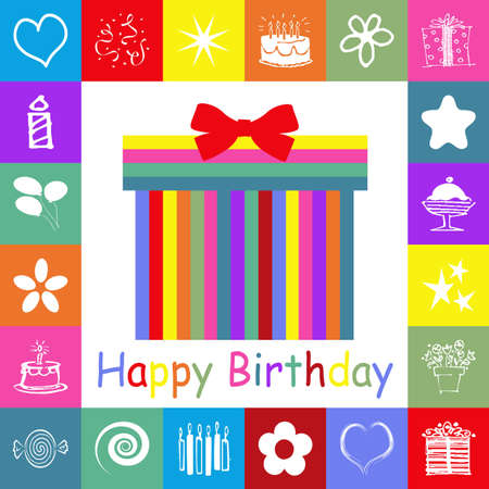 Birthday card with colorful rectangles photo