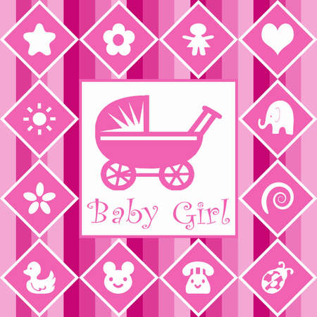 Baby girl announcement card photo