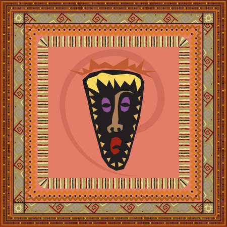 African mask on brown background