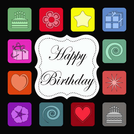 Birthday card with colorful squares