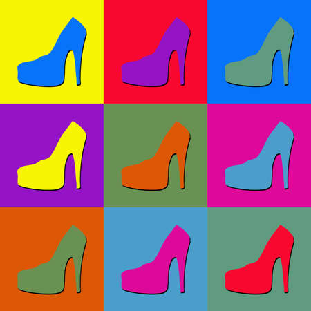Illustration of high-heel shoes on colorful tiled background