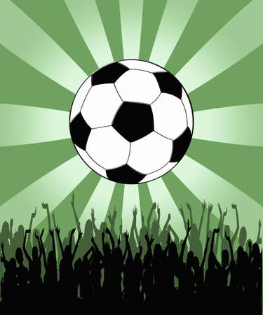 Soccer background with silhouettes of people and ball Stock Photo