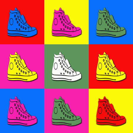 Pop art sneakers in colorful rectangles photo