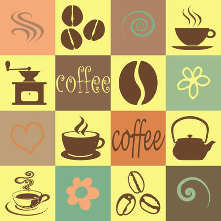Coffee illustration wallpaper with squares