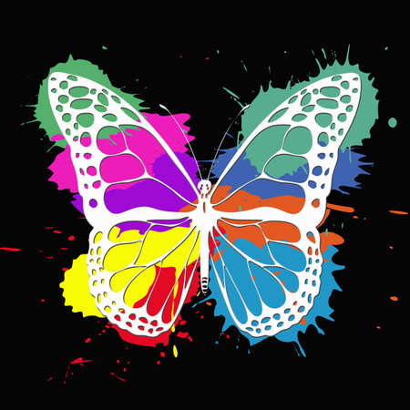 Butterfly illustration with colorful splashes