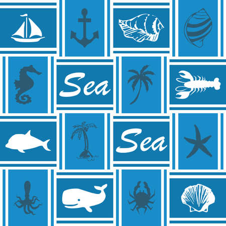 Sea life wallpaper with rectangles Stock Photo