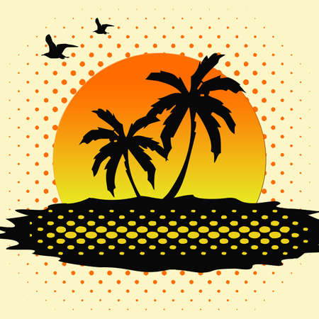 Tropical sunset with halftone decoration photo