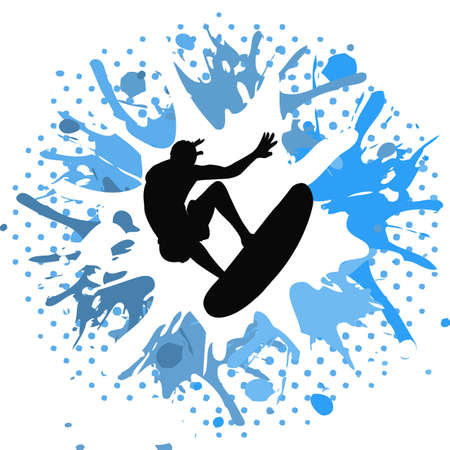 Surfer on white and blue grunge background photo