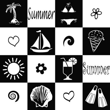 Seamless summer wallpaper in black and white photo