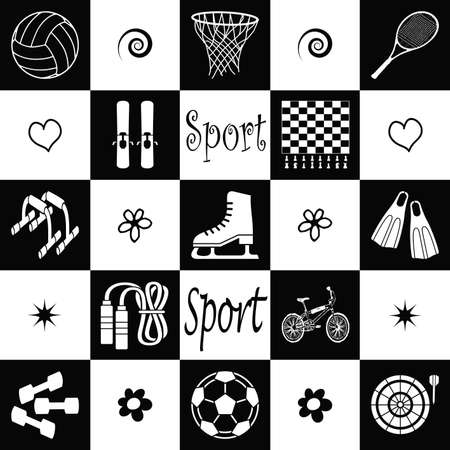Wallpaper with sport equipments in black and white photo