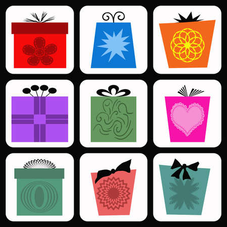 Colorful gift boxes in white rectangles photo