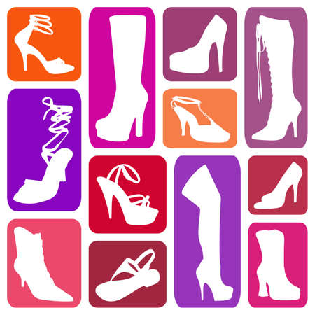 Wallpaper with women s shoes in colorful rectangles photo