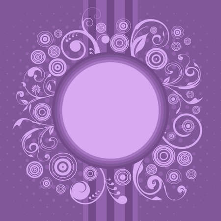personalize: Purple invitation card with swirls and design circles