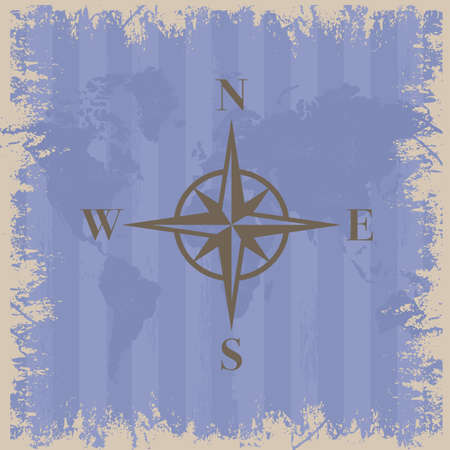 Illustration of compass with world map illustration