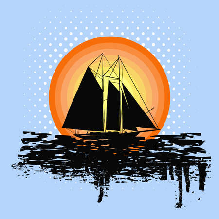 Grunge illustration of sailing boat at sunset illustration