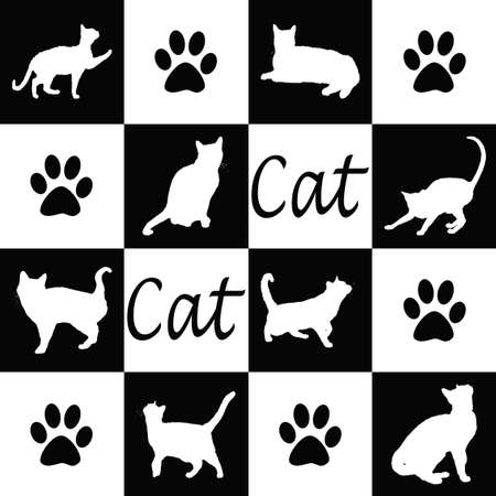 Wallpaper with cat silhouettes in black and white photo
