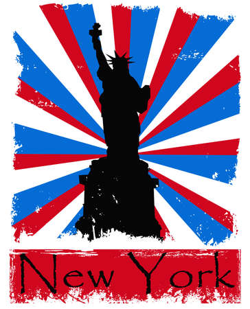 Grunge New York illustration on sunburst background