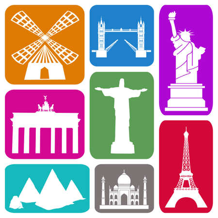 Wallpaper with famous historical sites in colorful rectangles photo