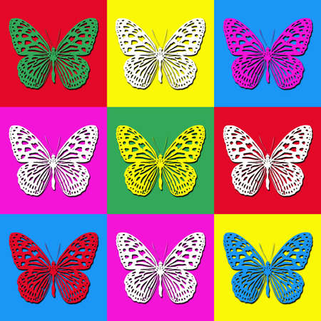 Pop art illustration with colorful butterflies illustration