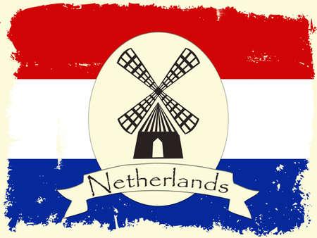 Grunge Netherlands illustration with windmill decoration illustration
