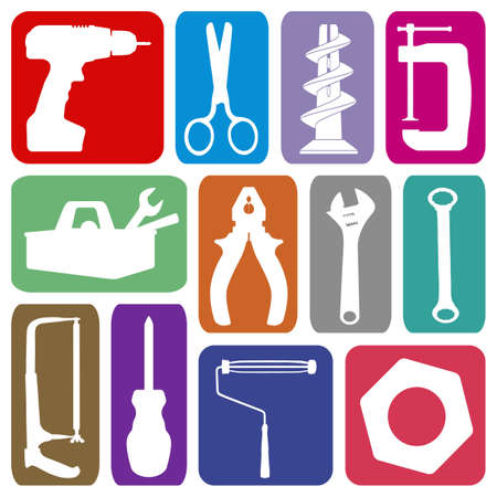Collection of working tool icons photo