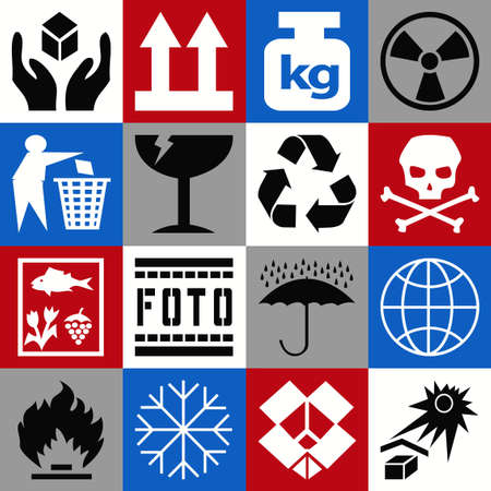 marking: Collection of cargo marking icons Stock Photo