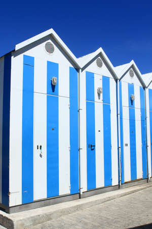 Blue and white fishermen s houses in Cascais, Portugal