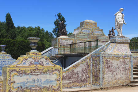 The azulejo lined canal at Queluz Palace, Portugal