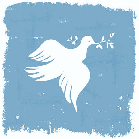 Peace dove wallpaper in grunge frame Stock Photo