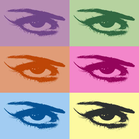 warhol: Wallpaper with colorful eye silhouettes Stock Photo