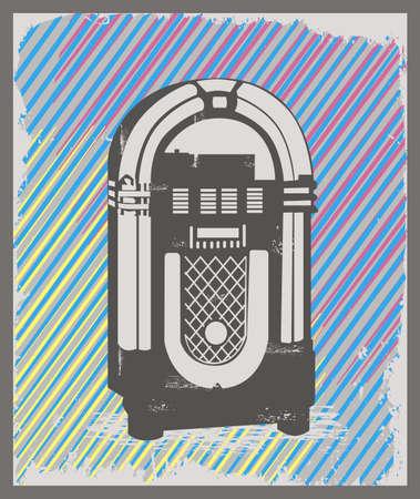 Vintage style jukebox in grunge frame