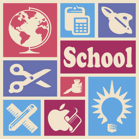 Wallpaper with school icons in colorful rectangles Stock Photo