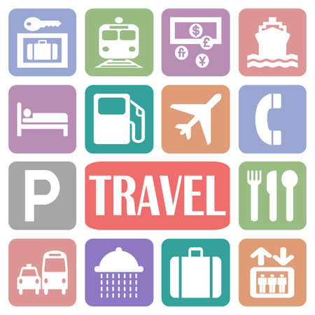 Wallpaper with travel icons in colorful rectangles