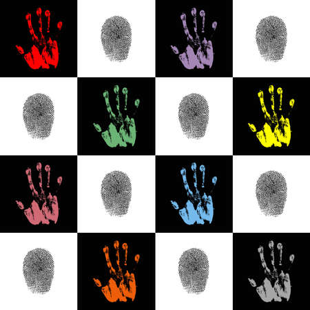 Wallpaper with hand prints and fingerprints