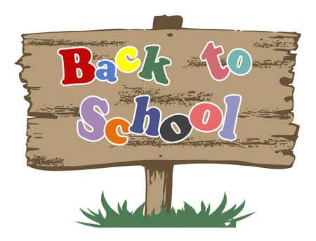 Back to school illustration on wooden banner