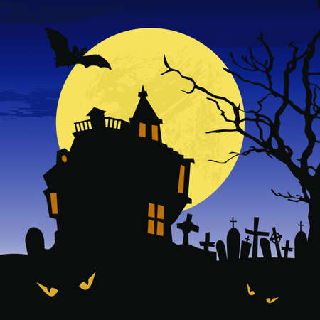Wallpaper with Halloween castle at full moon