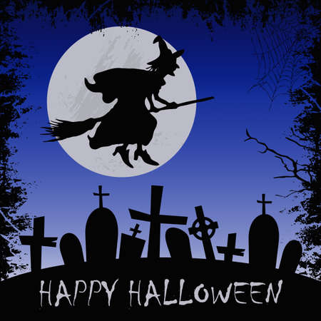 Halloween greeting card with witch Stock Photo