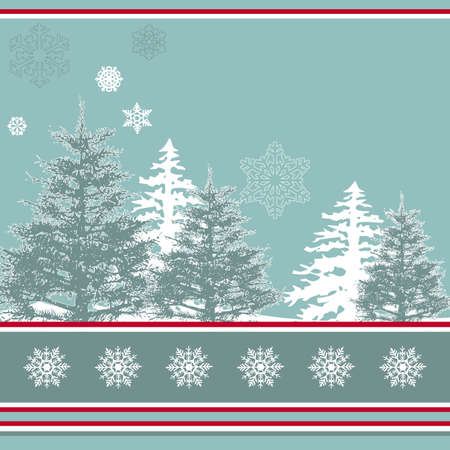 Winter landscape with Christmas trees Stock Photo