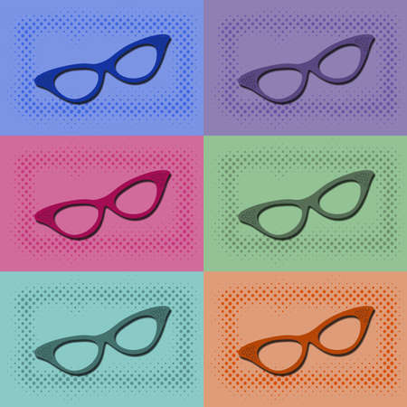 Colorful pop art wallpaper with sunglasses