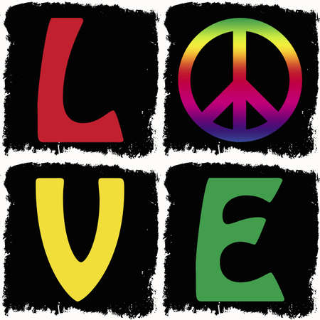 Peace and love background in grunge frame