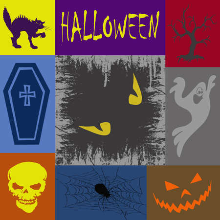 Wallpaper with Halloween symbols in rectangles