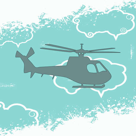 Grunge wallpaper with helicopter in the sky Stock Photo