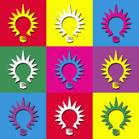 warhol: Colorful pop art wallpaper with light bulb decoration Stock Photo