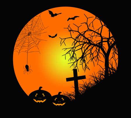 Halloween night greeting card with pumpkins Stock Photo