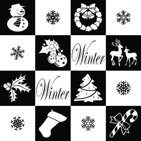 Black and white wallpaper with winter symbols