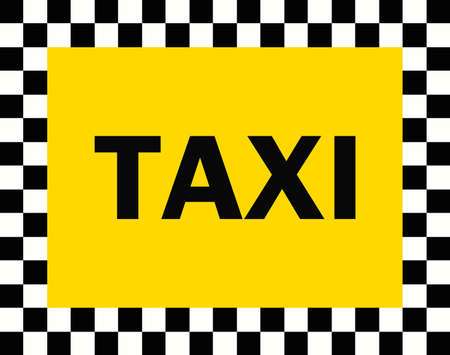 Taxi sign on yellow background in black and white frame